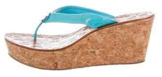 Tory Burch Logo Platform Wedge Sandals