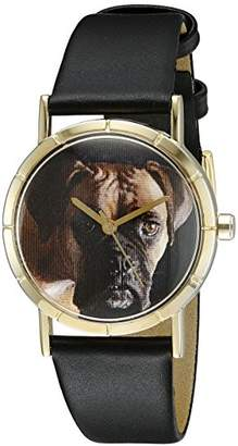 Whimsical Watches Kids' P0130014 Classic Boxer Black Leather And Goldtone Photo Watch