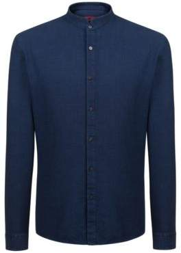 HUGO Boss Extra-slim-fit indigo cotton shirt stand collar M Dark Blue