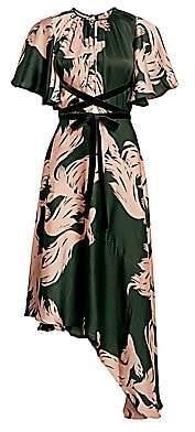 Johanna Ortiz Women's El Despertar De La E Asymmetric Tie-Waist Silk Midi Dress