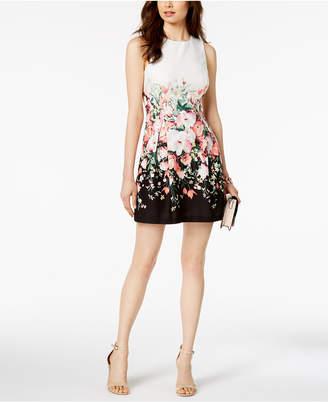 Jessica Howard Petite Floral Colorblocked Dress