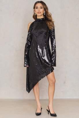 NA-KD Asymmetric Cold Shoulder Sequins Dress Black