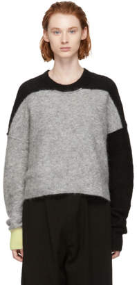 Y's Ys Grey Fuzzy Adele Crewneck Sweater