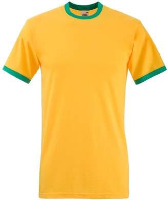 Fruit of the Loom Mens Ringer Short Sleeve T-Shirt (S) (White/Red)