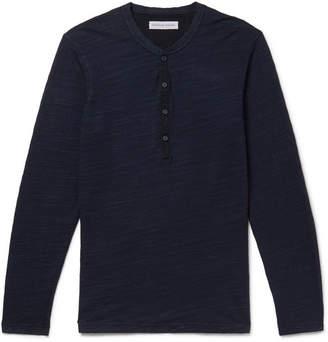 Orlebar Brown Harrison Slim-fit Garment-dyed Slub Cotton-jersey Henley T-shirt - Navy