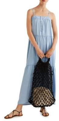 MANGO Gathered Squareneck Maxi Dress