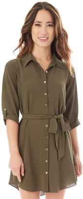 Iz Byer Juniors' Button-Down Shirt Dress