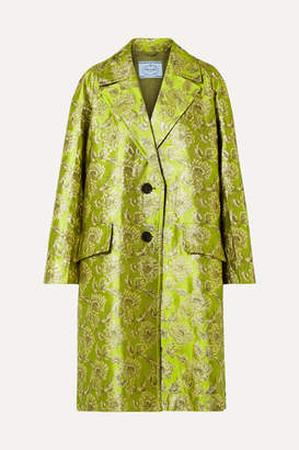 Prada Metallic Brocade Coat - Green