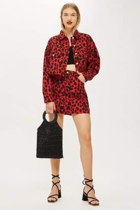 Topshop Red Leopard Denim Skirt