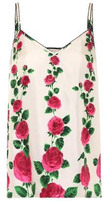 Gucci Floral-printed silk twill camisole