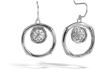 John Hardy Bamboo Lava Silver Drop Earrings w/ White Topaz