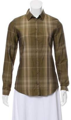 Burberry Exploded Check Button-Up Blouse Olive Exploded Check Button-Up Blouse