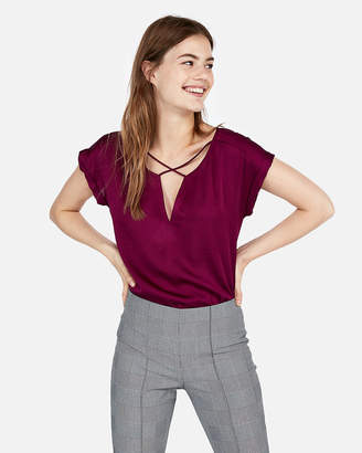 Express Satin Cross Front Gramercy Tee