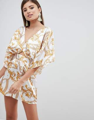 Asos DESIGN Kimono Sleeve Romper With Cut Out Detail In Chain Print