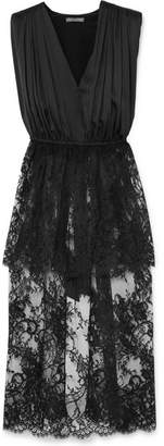 Alexander McQueen Asymmetric Cotton-blend Lace And Silk-satin Top - Black