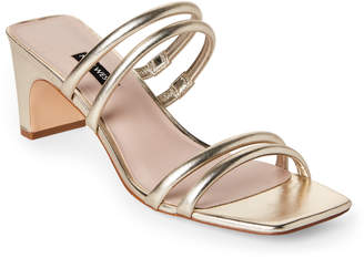 Nine West Light Gold Nakato Leather Tubular Strap Sandals