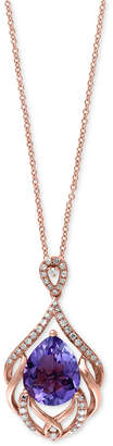 Effy Viola by Amethyst (3-3/8 ct. t.w.) and Diamond (1/6 ct. t.w.) Filigree Pendant Necklace in 14k Rose Gold