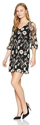 Julian Taylor Women's Petite Floral Printed Lace 3/4 Puf Sleeve Shift Dress