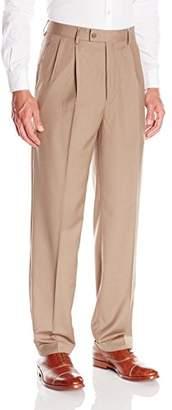 Louis Raphael Men's Pleated Straight Fit Herringbone Solid Dress Pant