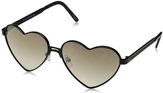 Zerouv Women's Cute Fashion Wire Metal Inset Lens Love Lolita Heart Shaped Aviator Sunglasses