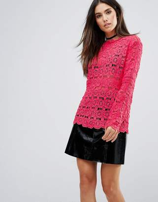 Club L Crochet Detail High Neck Top