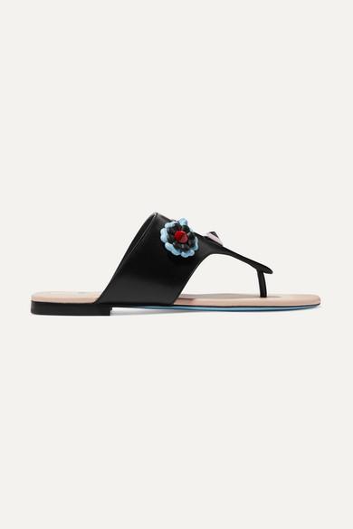 Fendi - Studded Appliquéd Leather Sandals - Black