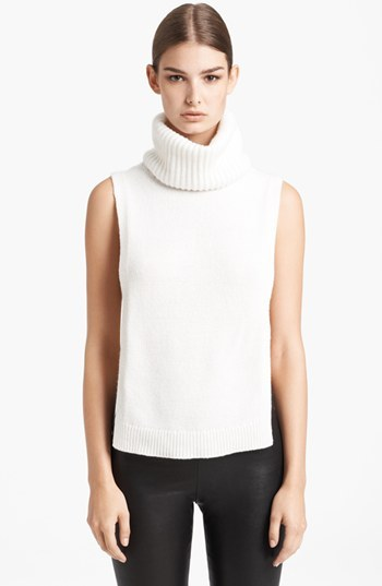 Alexander McQueen Sleeveless Ribbed Cashmere Turtleneck