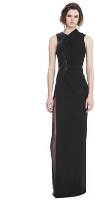 Alexander Wang ASYMMETRIC DRAPED GOWN WITH CURVED LEATHER PANEL Long Dress