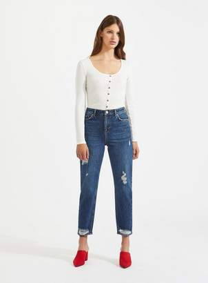 Miss Selfridge Mom high rise vintage dark wash jeans