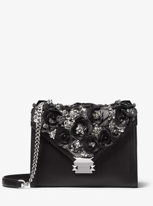 f94c5a2a071e7e MICHAEL Michael Kors Whitney Large Floral Embellished Leather Convertible  Shoulder Bag