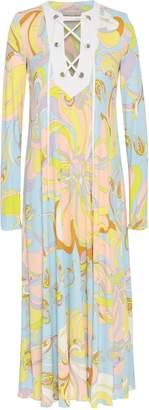 Emilio Pucci Lace-up Printed Jersey Midi Dress