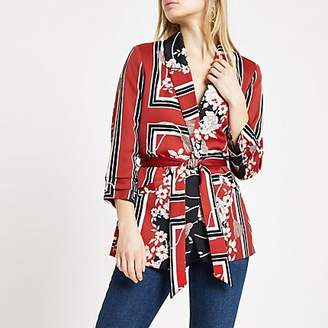 River Island Red floral print belted ruched blazer