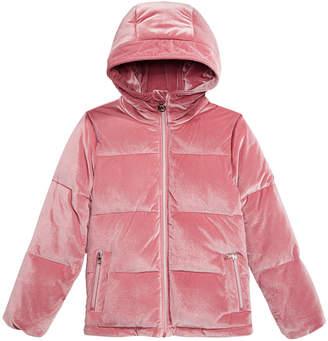 Michael Kors Big Girls Hooded Velvet Puffer Jacket