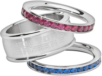 Logoart LogoArt New York Rangers Stainless Steel Crystal Stack Ring Set