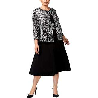 Jessica Howard Plus Size Womens 3/4 Sleeve Swing Jacket Dress with Ruched Waist