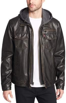 Levi's Levis Men's Sherpa-Lined Faux-Leather Trucker Jacket