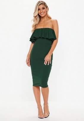 Missguided Green Bandeau Frill Midi Dress