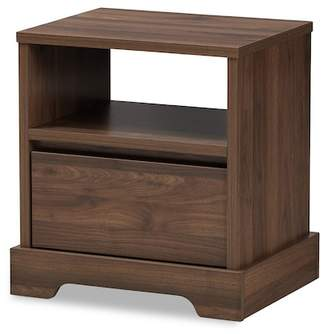 Baxton Studio Wholesale Interiors Burnwood Modern & Contemporary Finished Wood 1-Drawer Nightstand - Walnut Brown