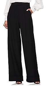 Zac Posen Women's Silk Crepe Wide-Leg Trousers - Black