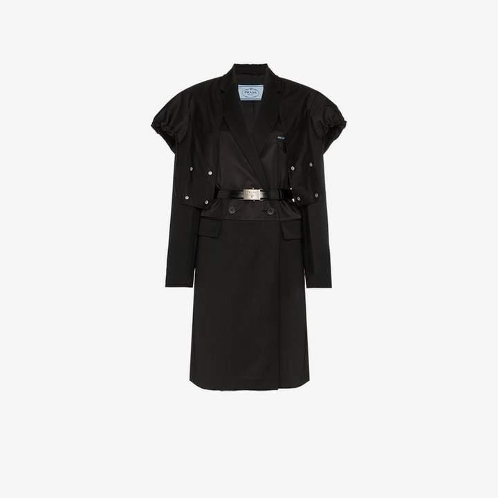 wool, satin nylon gabardine coat