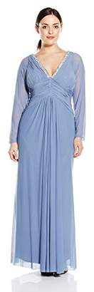 Marina Women's Plus Size Long Sleeve Dress with Beaded Applique
