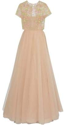 Valentino Bead-Embellished Pleated Tulle Gown