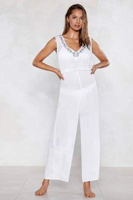 Nasty Gal Life's a Beach Embroidered Cover-Up Jumpsuit