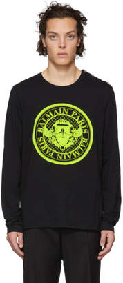 Balmain Black Medallion Logo Long Sleeve T-Shirt