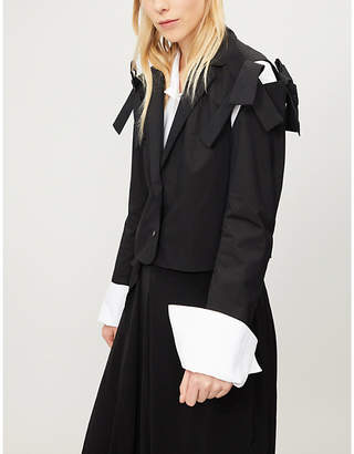 ROBERTS WOOD Cut-out shoulder stretch-cotton jacket