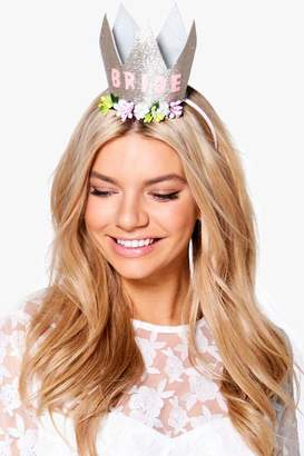 boohoo Connie Hen Bride Slogan Crown Headband