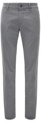BOSS Hugo Slim-fit pants in brushed stretch cotton 32/30 Dark Grey