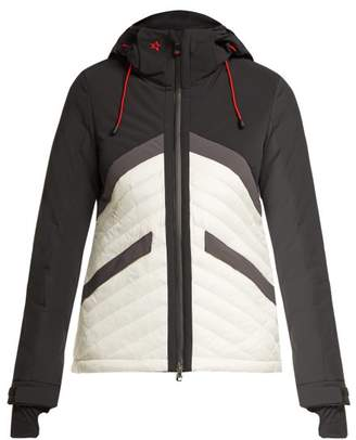 Perfect Moment - Chevron Quilted Ski Jacket - Womens - Black White