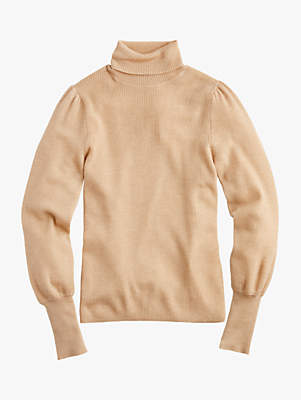 J.Crew Isa Puff Sleeve Turtleneck Jumper, Heather Camel