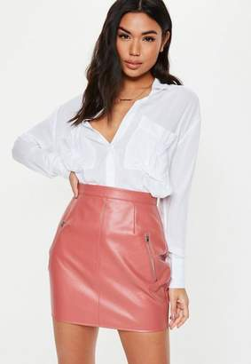 Missguided Pink Faux Leather Zip Mini Skirt